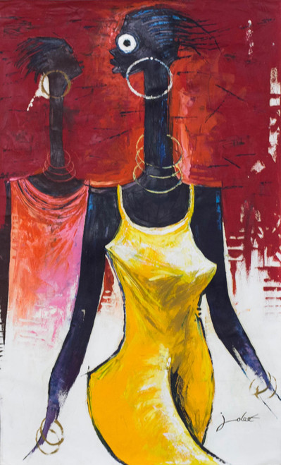 Signed Expressionist Painting of a Woman from Ghana 2016 'Self Expression III'