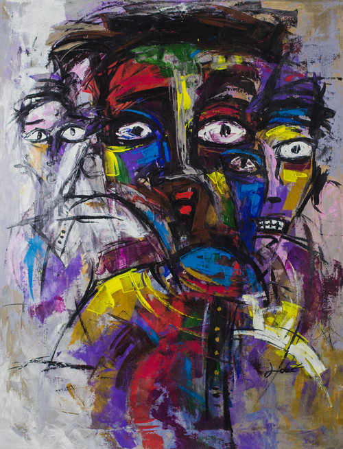 Signed Expressionist Painting from Ghana 2017 'Unity'