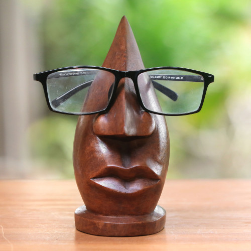 Wood Eyeglasses Stand in Light Brown from Bali 'Prominent Nose in Light Brown'