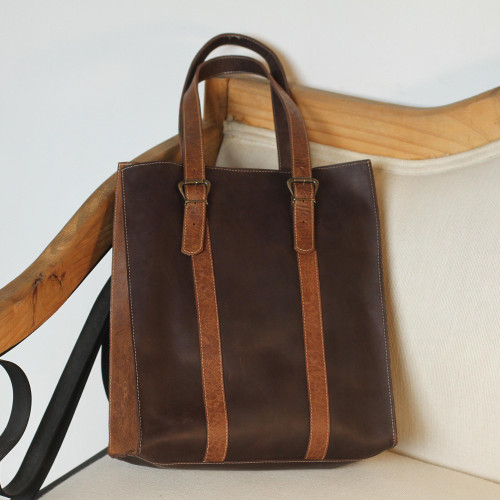 Handmade Leather Tote in Chestnut and Espresso from Mexico 'Contemporary Espresso'