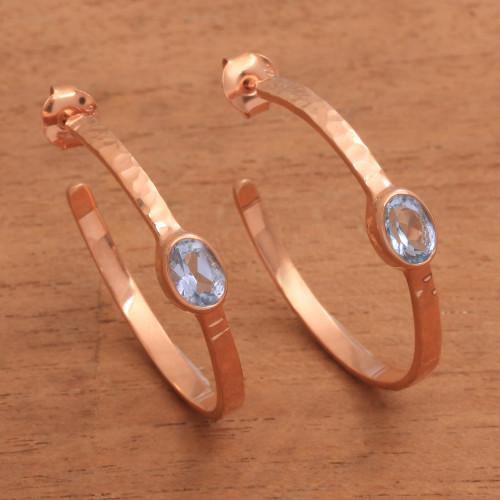 Rose Gold Plated Blue Topaz Hammered Half Hoop Earrings 'Paradox'