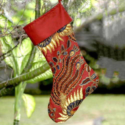 Florak Batik Cotton Stocking in Chili from Bali 'Batik Holiday'