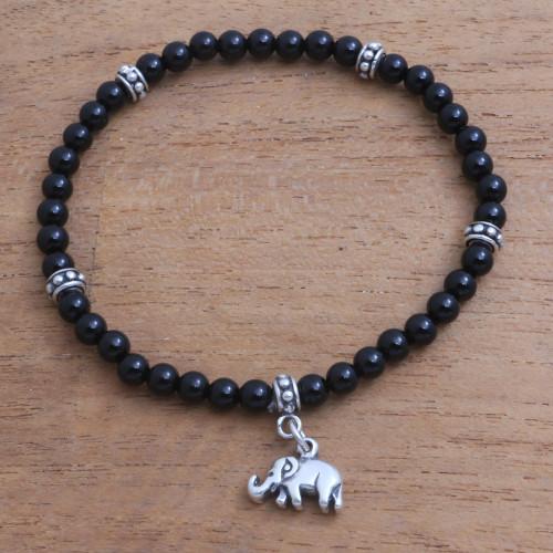 Onyx Elephant Beaded Stretch Bracelet from Bali 'Elephant Dangle'