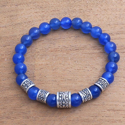 Blue Agate Beaded Stretch Bracelet from Bali 'Complete'