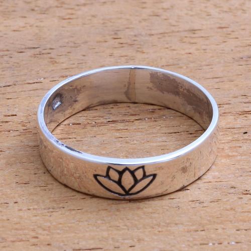 Lotus Flower Sterling Silver Band Ring from Bali 'Single Lotus'