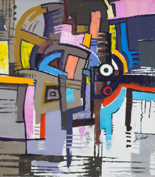 Signed Colorful Abstract Painting from Ghana 2016 'Focus III'