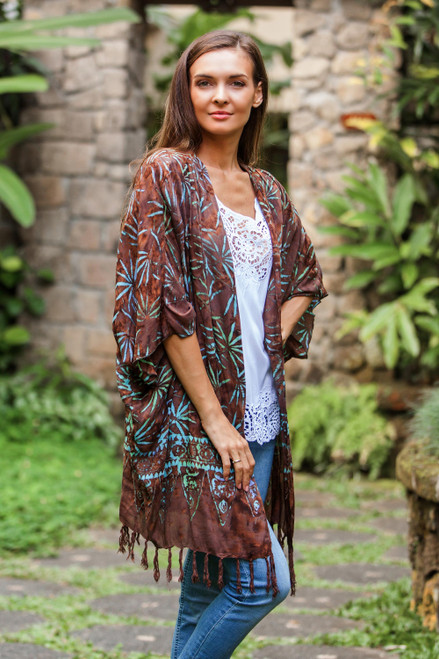 Leaf Motif Batik Rayon Kimono Jacket in Brown from Bali 'Denpasar Lady in Brown'