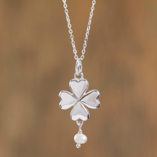Taxco Cultured Pearl Heart Pendant Necklace from Mexico 'Saint Patrick's Love'