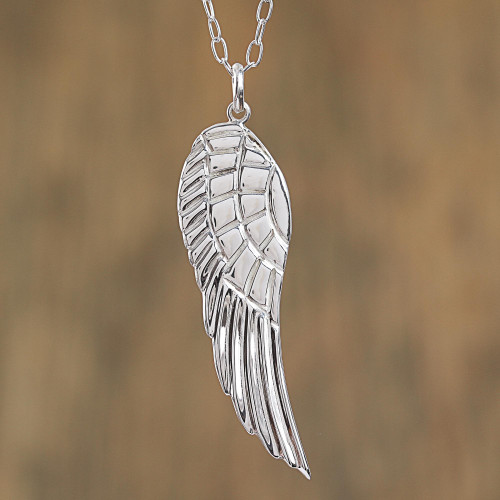 Taxco Sterling Silver Wing Pendant Necklace from Mexico 'Gabriel's Wing'