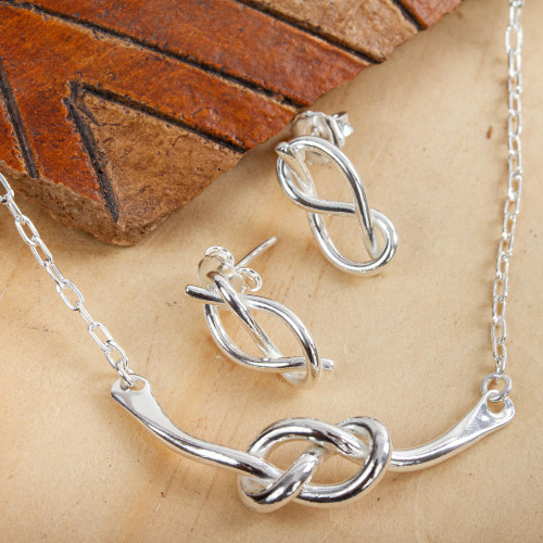 Knot Motif Sterling Silver Jewelry Set from Mexico 'Taxco Knots'