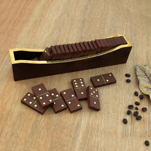 Beech Wood Classic Domino Set with Mango Wood Holder 'Classic Entertainment'
