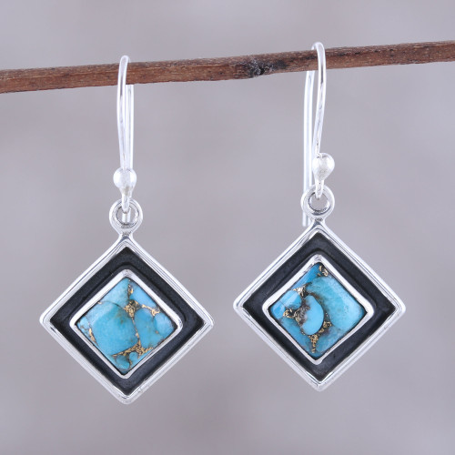 Sterling Silver and Blue Composite Turquoise Dangle Earrings 'Chic Kites in Blue'