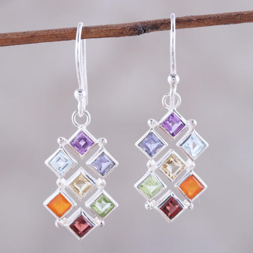Multi-Gemstone Chakra Dangle Earrings from India 'Wellness'