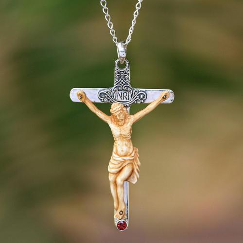 Garnet and Bone Crucifix Pendant Necklace from Bali 'INRI Crucifix'