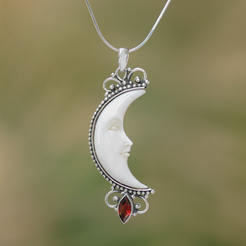 Garnet and Bone Crescent Moon Pendant Necklace from Bali 'Natural Moonlight'