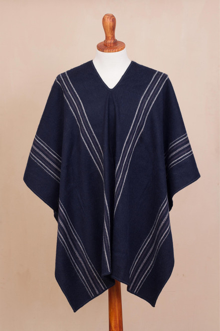 Alpaca Blend Poncho in Midnight from Peru 'Chic Andes in Midnight'