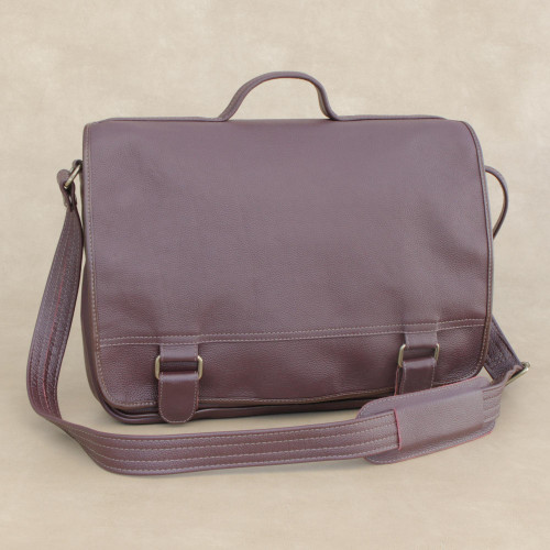 Handmade Leather Laptop Bag in Maroon from Brazil Double 'Universal in Maroon'
