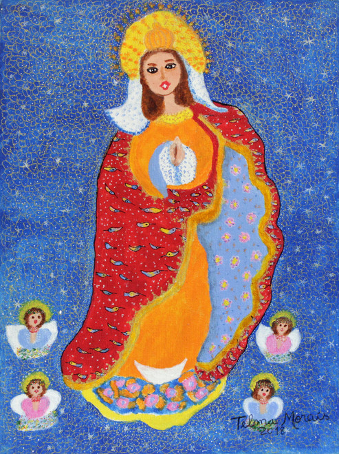 Signed Folk Art Painting of Mother Mary from Brazil 'Our Lady of Conception'