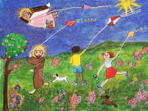 Signed Religious Folk Art Painting from Brazil 'Innocence'