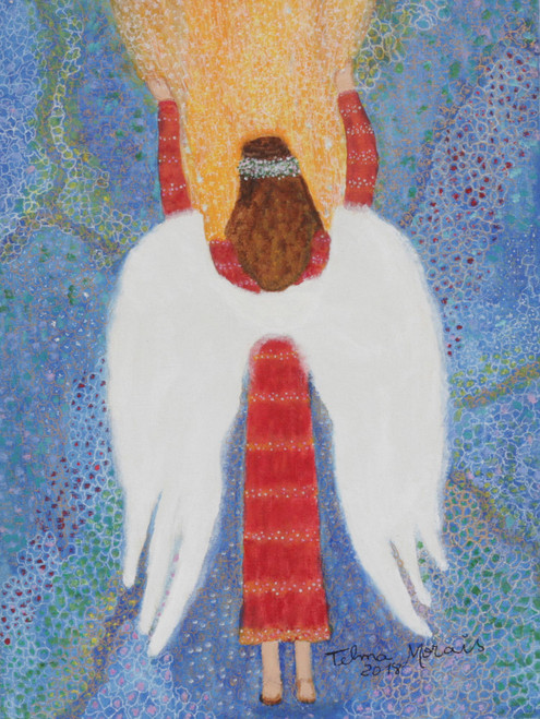 Signed Folk Art Painting of an Angel from Brazil 'Connection'