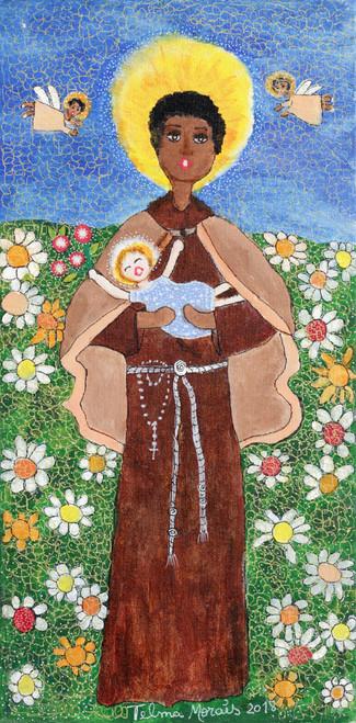 Signed Folk Art Painting of Saint Benedict from Brazil 'Saint Benedict'