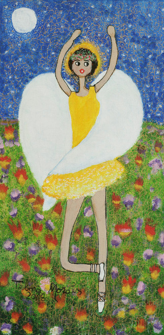 Signed Naif Painting of an Angel in a Yellow Dress 'The Angel Dances in the...'