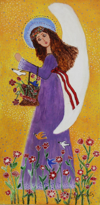 Signed Naif Painting of an Angel in a Purple Dress 'Angel, Birds, and Flowers'