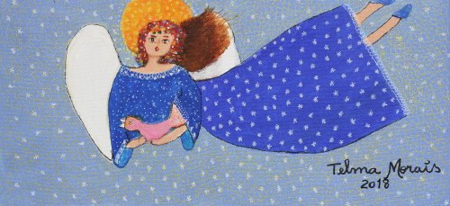 Signed Naif Painting of an Angel in a Blue Dress from Brazil 'The World in Blue'