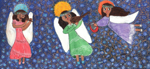 Signed Painting of Three Angels from Brazil 'Serenade in the Stars'