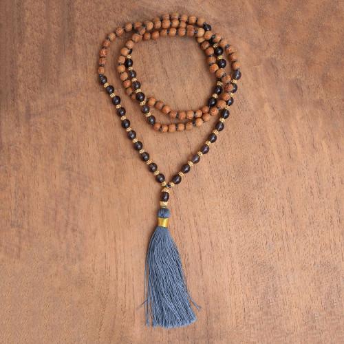 22k Gold Plated Smoky Quartz Beaded Necklace from Bali 'Batuan Harmony'