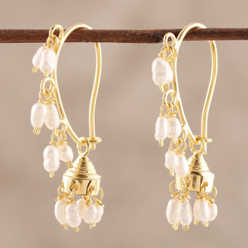 Gold Plated Cultured Pearl Chandelier Earrings from India 'Pearl Melody'