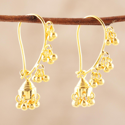 22k Gold Plated Sterling Silver Chandelier Earrings 'Golden Music'
