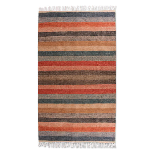 Handwoven 5 by 9 Foot Wool Area Rug in Sunset Colors 'Magnificent Sunset'
