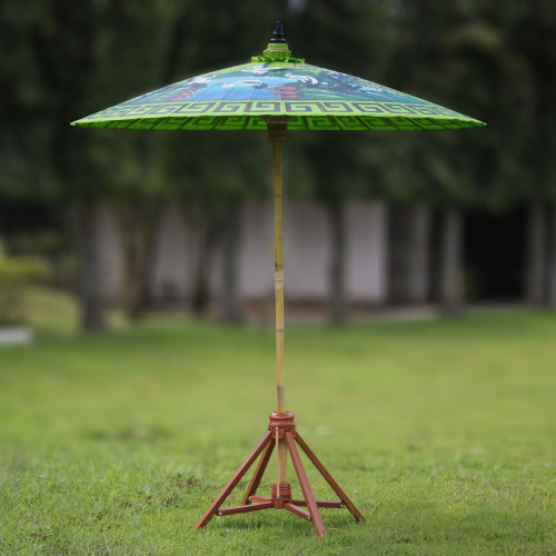 Crane-Themed Cotton and Bamboo Parasol in Spring Green 'Meeting Point'