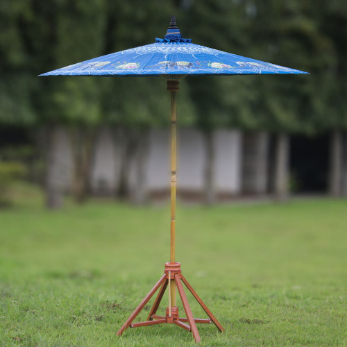 Elephant-Themed Cotton and Bamboo Parasol in Sapphire 'Happy Little Elephants'