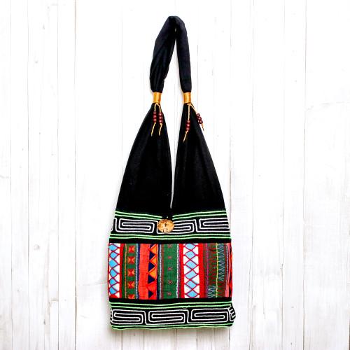 Thai Multicolored Cotton Shoulder Bag with Geometric Motif 'Ardent Thai'
