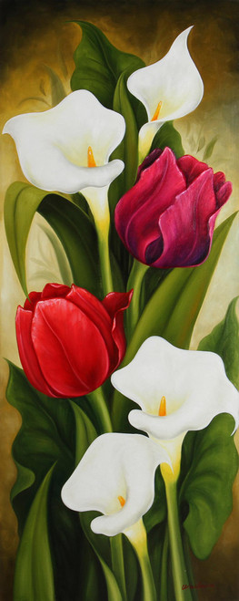 Signed Still Life Painting of Tulips and Calla Lilies 'Tulips and Calla Lilies II'