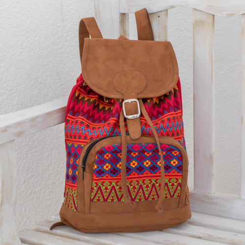 Zigzag Motif Handwoven Cotton Backpack from Guatemala 'Flowers of Comalapa'