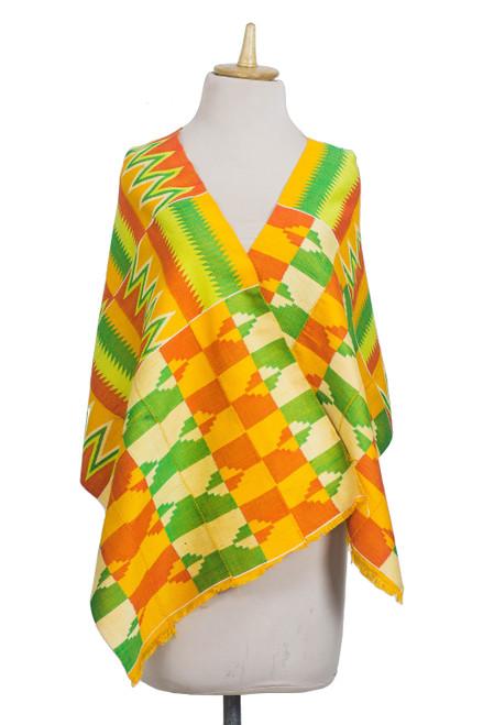 Rayon and Cotton Blend Kente Shawl in Orange 18 in. 'Kente Royalty'