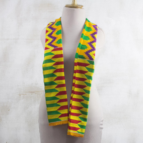 Colorful Rayon and Cotton Blend Kente Scarf 9 in. 'Kente Princess'