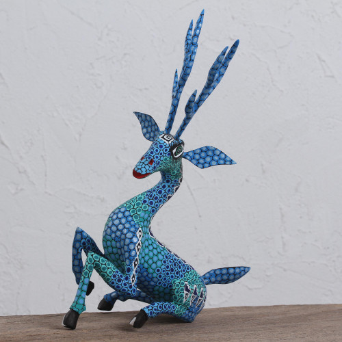 Hand-Painted Wood Alebrije Deer Sculpture in Blue 'Resting Deer'