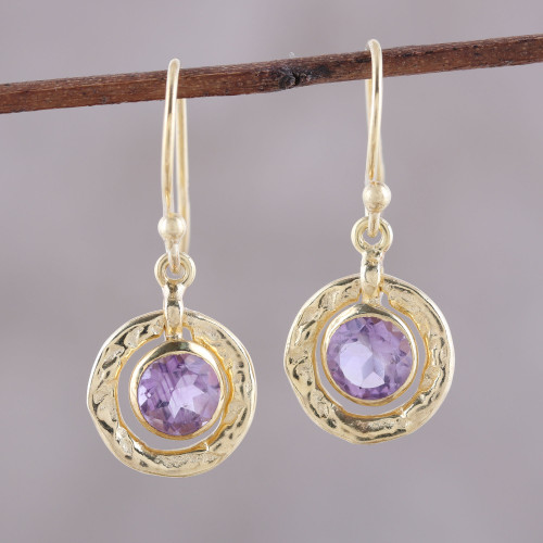Amethyst and 18k Gold Plated Sterling Silver Dangle Earrings 'Glittering Lilac'