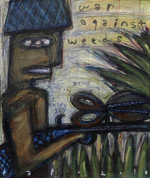 Signed Modern Painting by an Artist from Bali 'War Against Weeds'