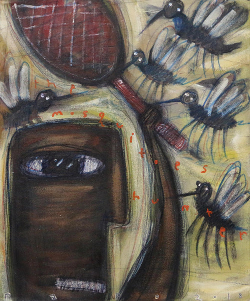 Signed Modern Mosquito Painting from Bali 'The Mosquito Hunter'