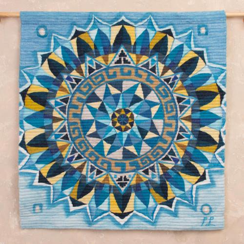 Handwoven Wool Mandala Tapestry in Blue from Peru 'Blue Mandala'