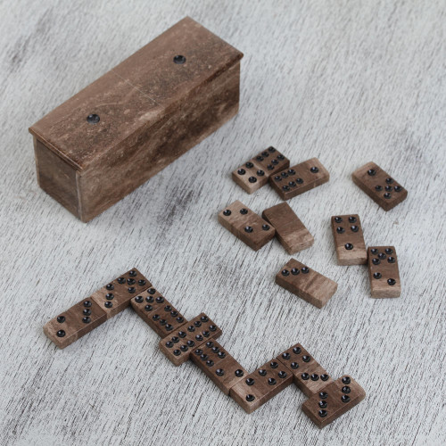 Brown Marble Domino Set from Mexico 'Rise to the Challenge'