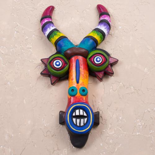Colorful Ceramic Devil Mask Handcrafted in Peru 'Colorful Devil'