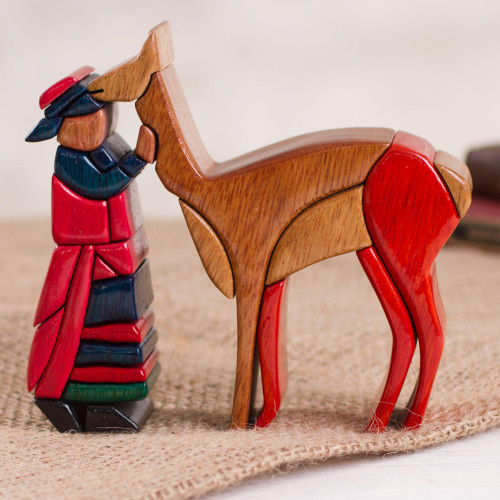 Wood Sculpture of an Alpaca Shepherd from Peru 'Cuzco Shepherd'