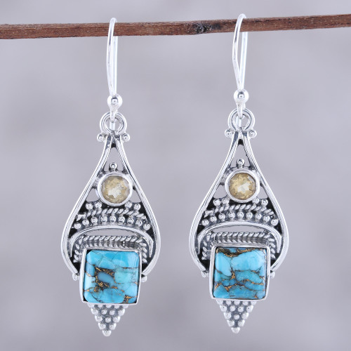 Citrine and Composite Turquoise Dangle Earrings from India 'Mythic Ocean'