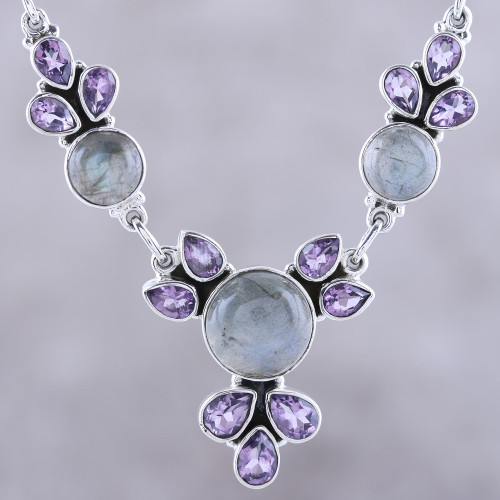 Amethyst and Labradorite Pendant Necklace from India 'Aurora Blossom'
